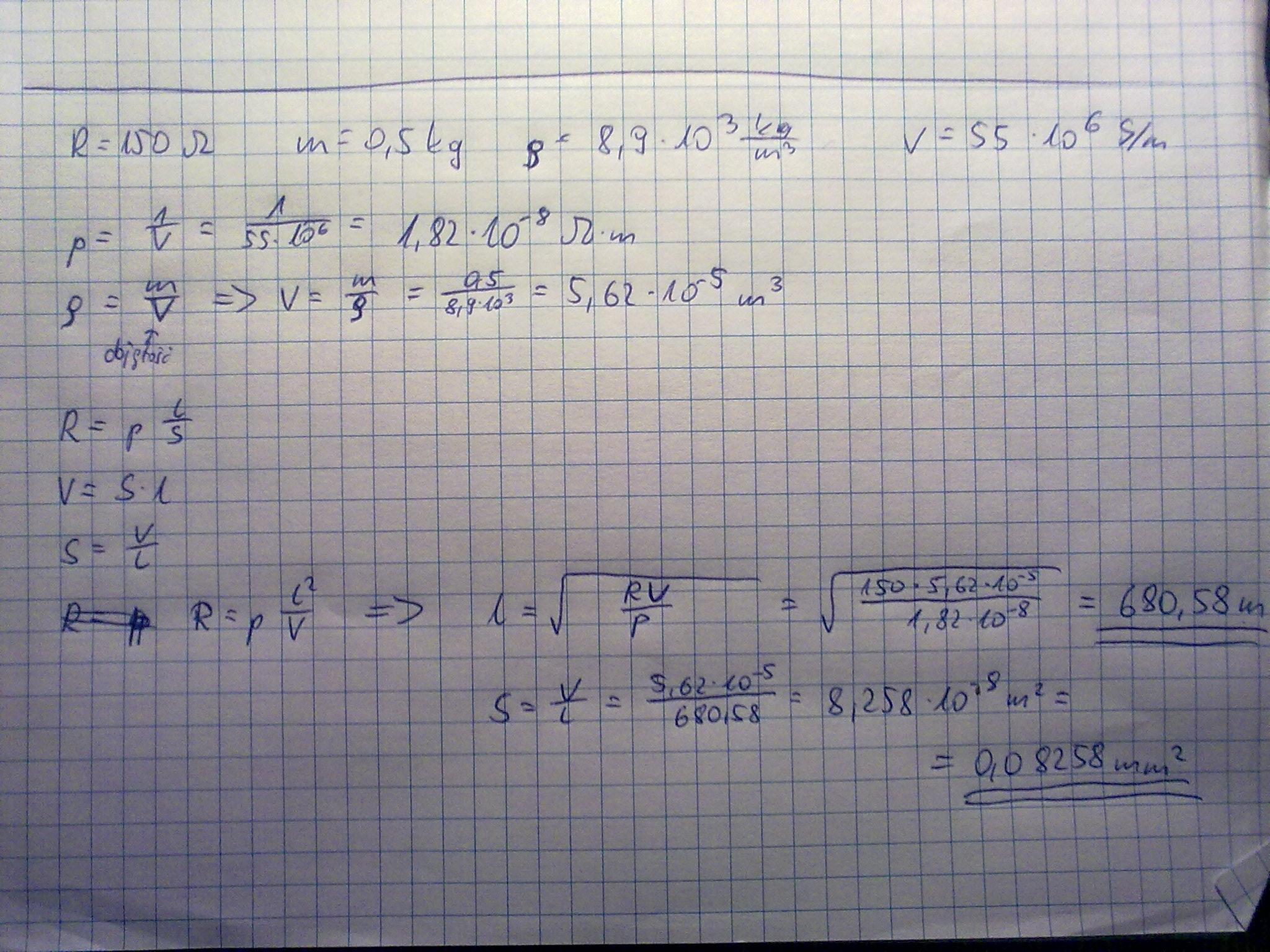 Zadanie z elektrotechniki obliczenie parametr�w drutu