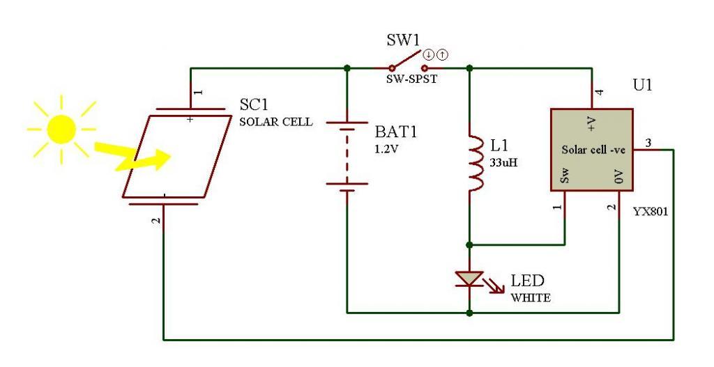 Фонарь от солнечной батареи схема