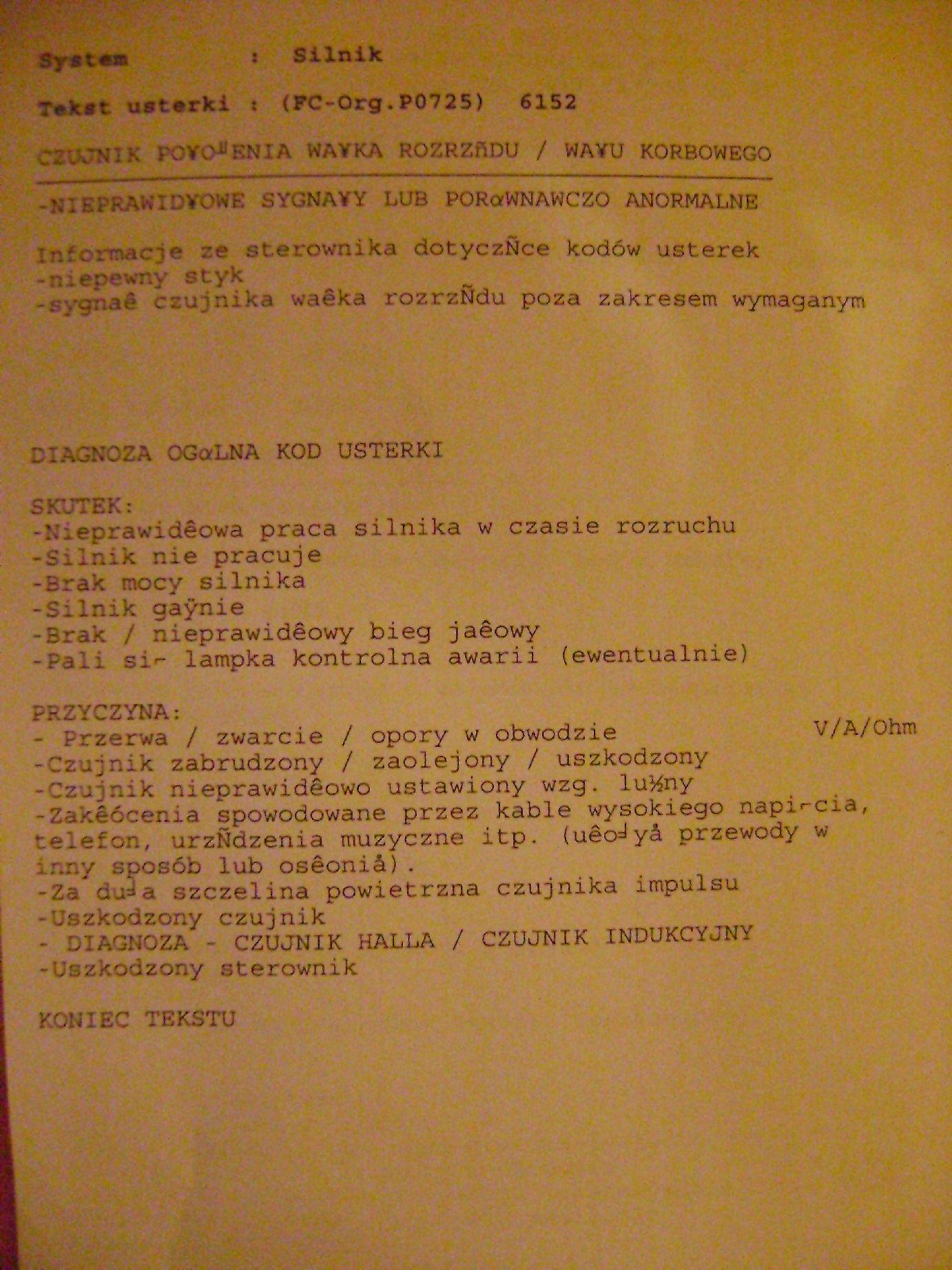 Opel Vivaro 1.9 2004 - nie odpala na zimnym (fotki kod�w b��d�w)