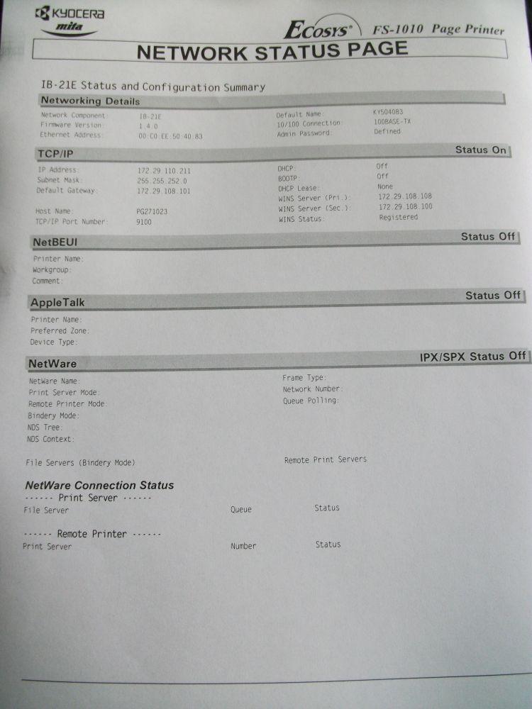 Kyocera FS-1010 + Print server IB-21E konfiguracja
