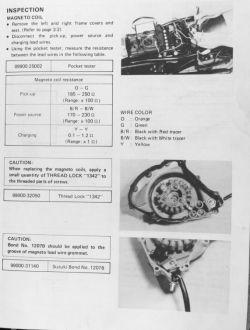 Suzuki DR600 - nie pali po przezwojeniu całości alternatora, brak iskry.