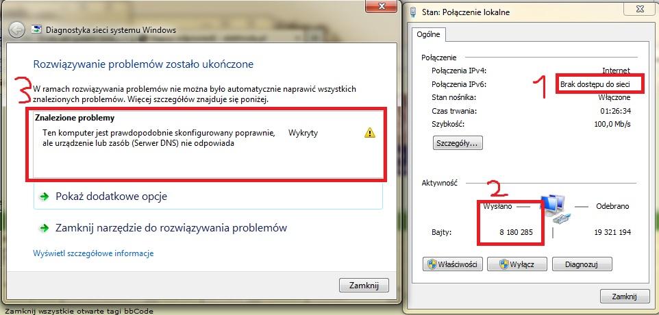 Obci��one ��cze internetowe, serwer DNS nie odpowiada