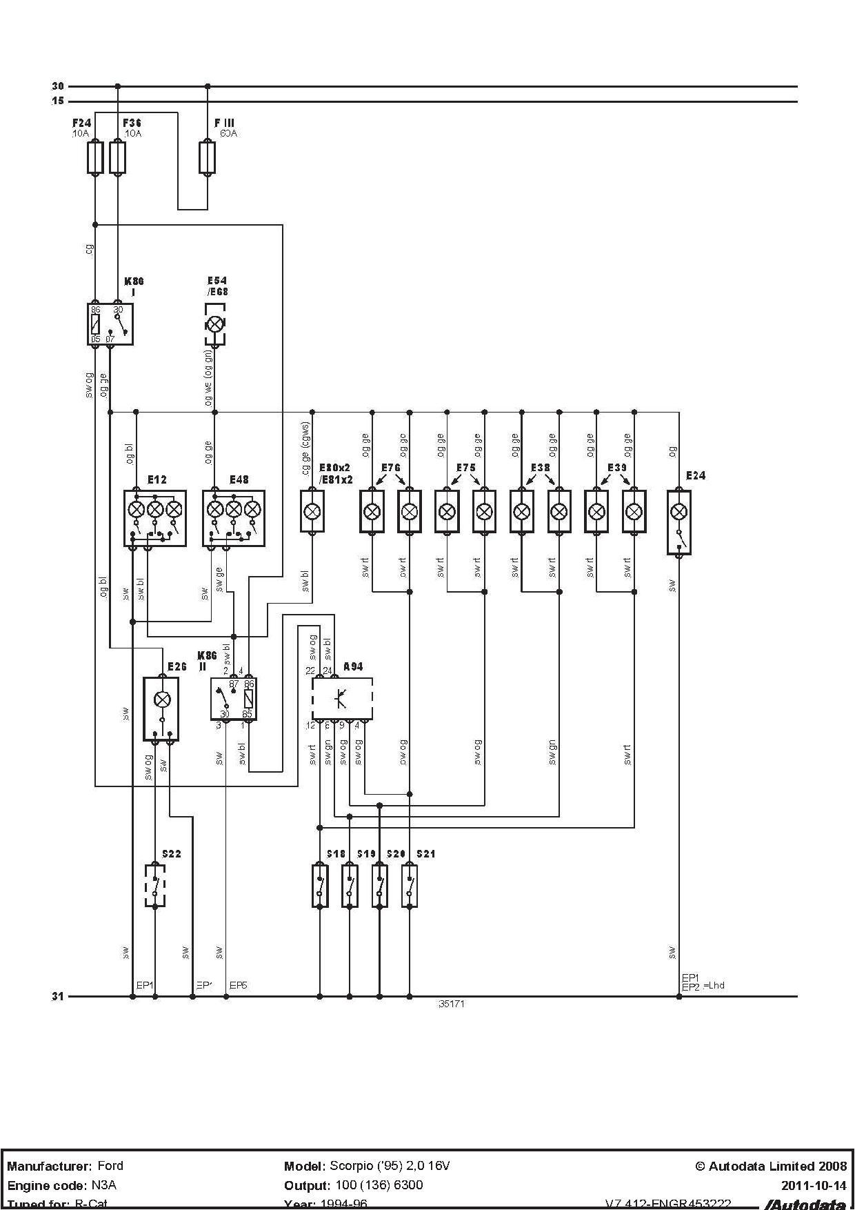 Ford Scorpio 95r o�wietlenie wn�trza - pob�r pr�du