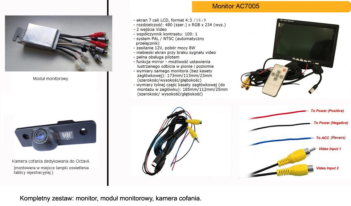 Kamera cofania, modu� monitorowy