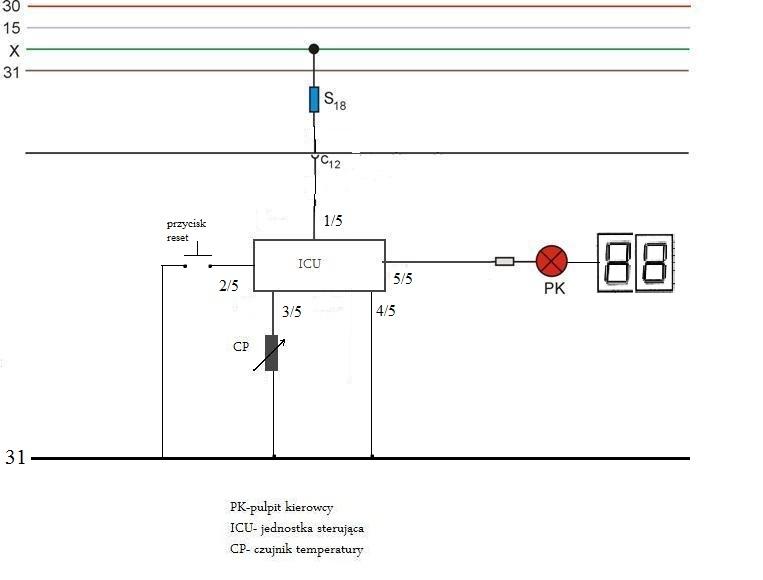 schemat zewn�trznego czujnika temperatury w samochodzie - obliczenia