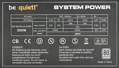 Be Quiet model: BQT S6-SYS-UA-350W- za niskie napięciem +3,3V i brak sygnału PG