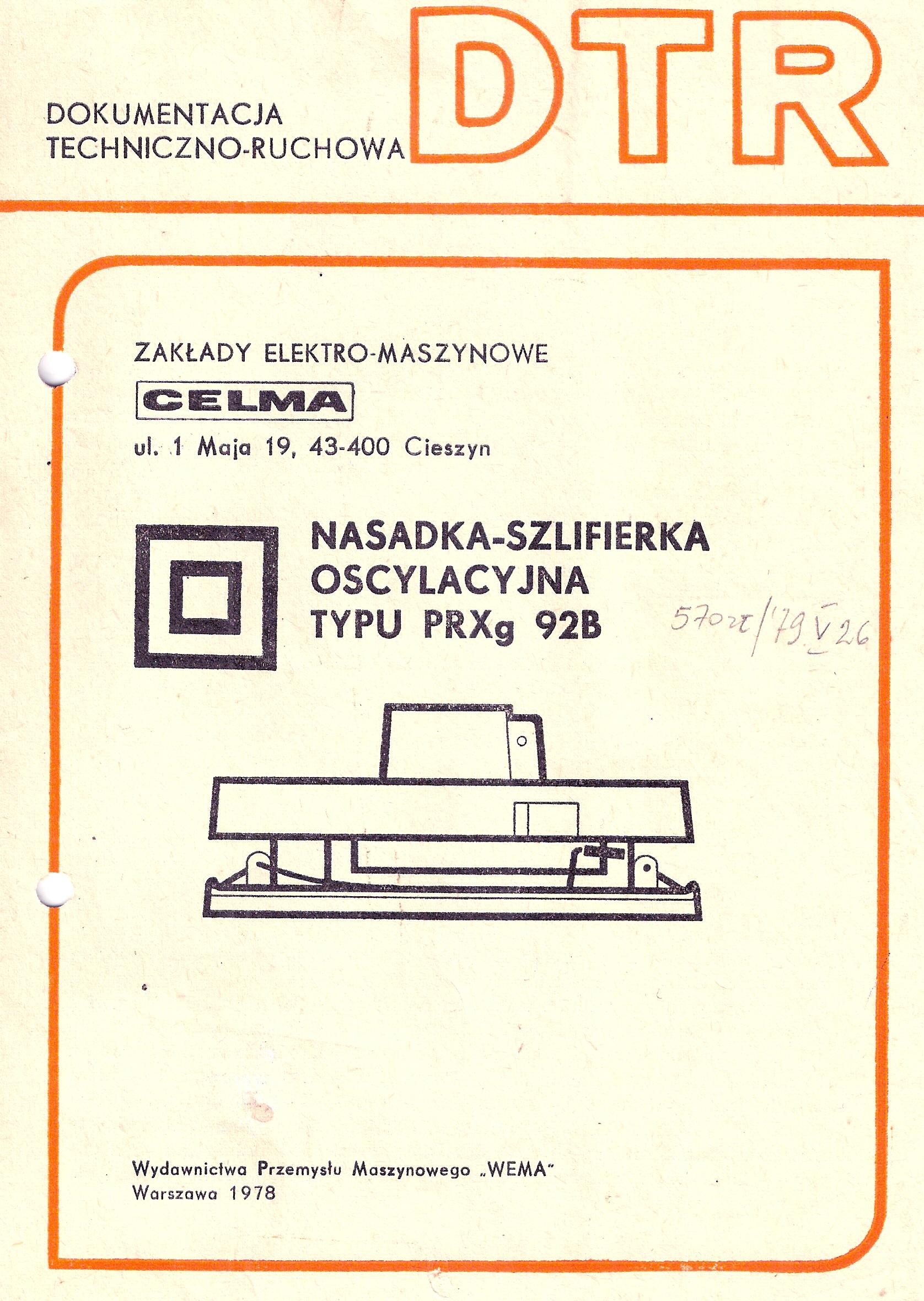 Instrukcja obs�ugi i katalog cz�ci szlifierki oscylacyjnej CELMA PRXg 92B