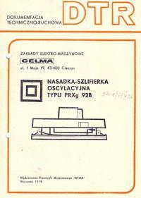 Instrukcja obsługi i katalog części szlifierki oscylacyjnej CELMA PRXg 92B