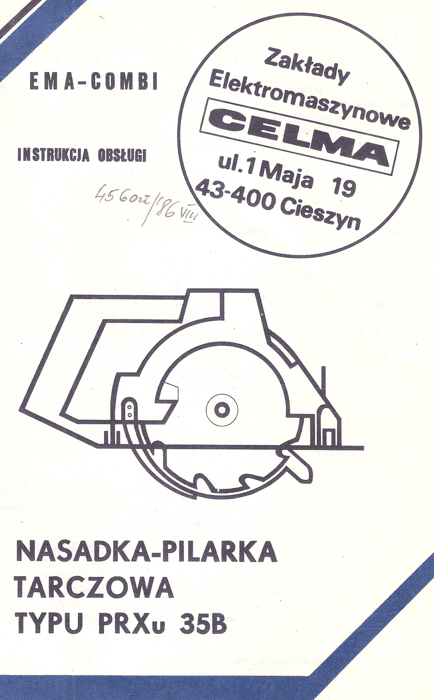 Instrukcja obs�ugi i katalog cz�ci pilarka tarczowa nasadka CELMA PRXu 35B