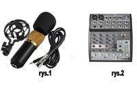 Mikrofom pojemnociowy Bm 700 + mikser Behringer Xenyx 802