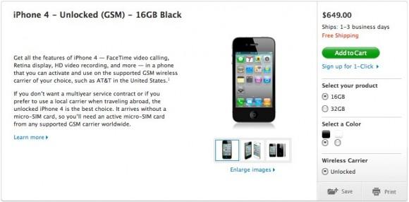 Odblokowany iPhone 4 za nieca�e 1800 PLN (649 USD) w USA