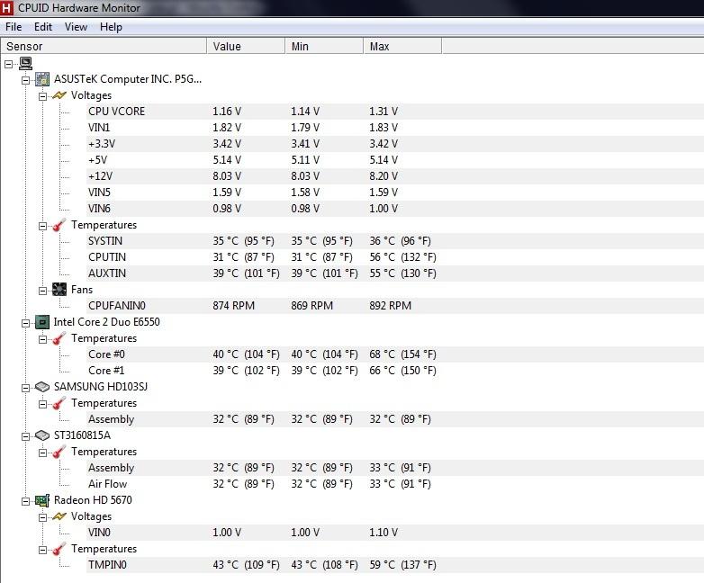 Intel core 2 Duo E6550 2.33GHz - Temperatura procesora i zasilacza.