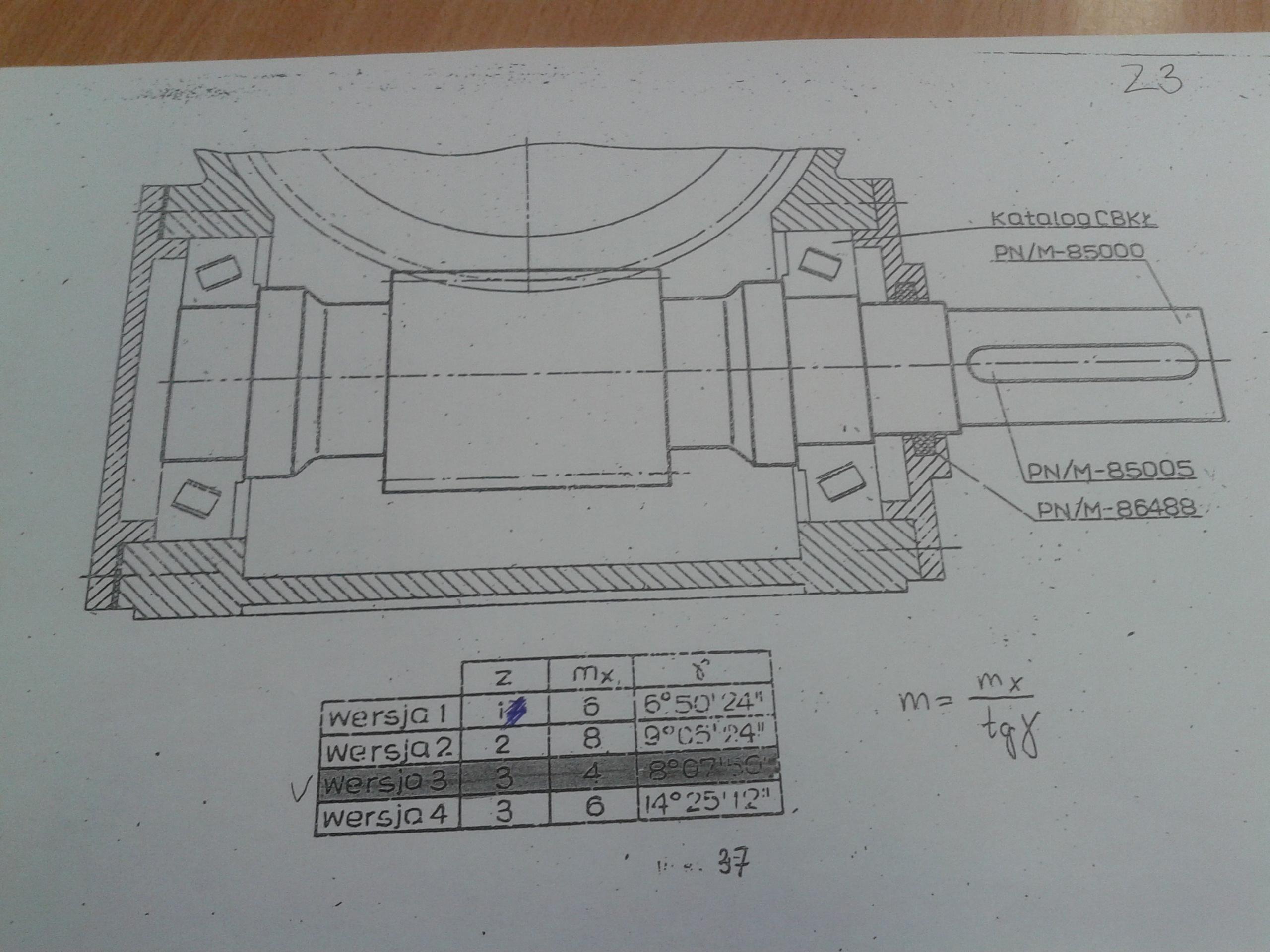 Rysunek techniczny - ko�o z�bate