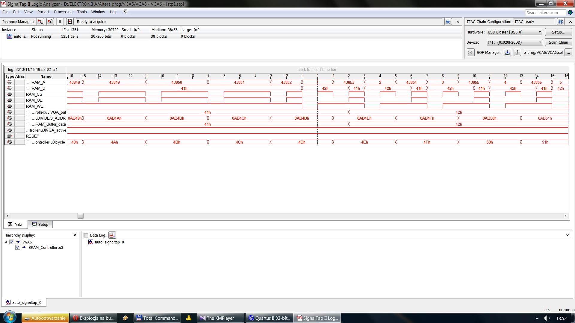 ALTERA Cyclone III - Karta graficzna - nak�adanie si� danych do zapisu z danymi