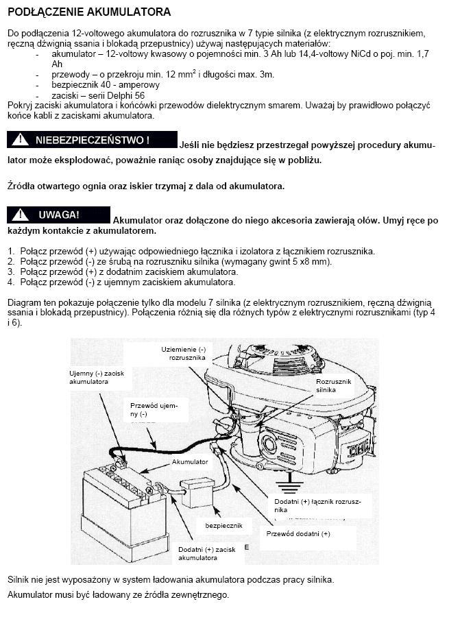 Monta� rozrusznika el. do kosiarki z silnikiem Honda GCV 190.