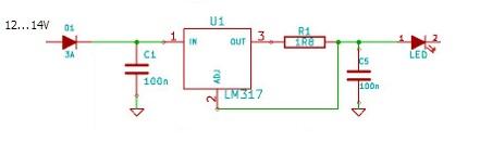Zasilacz dla LED 5W z akumulatora 12V