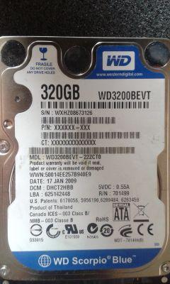 Odyzskanie danych z dysku WD3200BEVT - niewidoczny w biosie, talerz stoi.