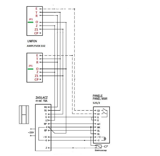 Zasilacz Urmet 19A - Unifon AMPLYVOX -  pod��czeniem interkom
