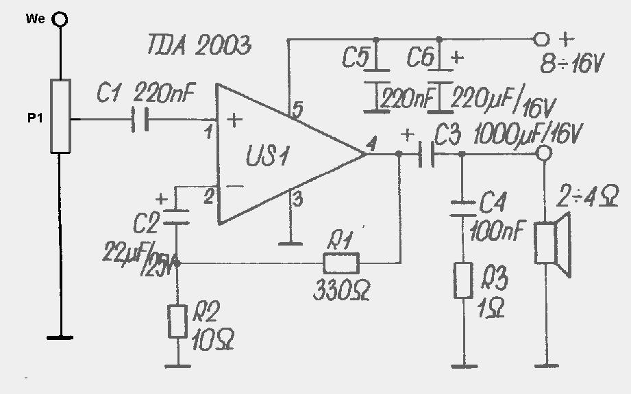 Schemat i wykonanie wzmacniacza TDA2003.