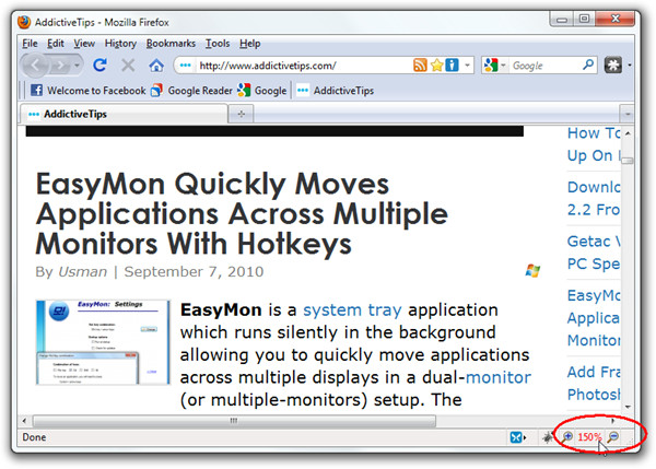 Mozilla powi�kszenie strony