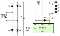 """Sterownik LED na PT4115 - parametr """"dropout"""""""