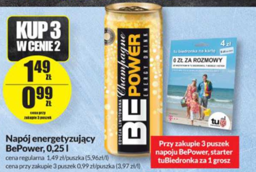 Starter TuBiedronka (5zł na koncie) + 3x napój energetyzujący BePower za 2,98zł