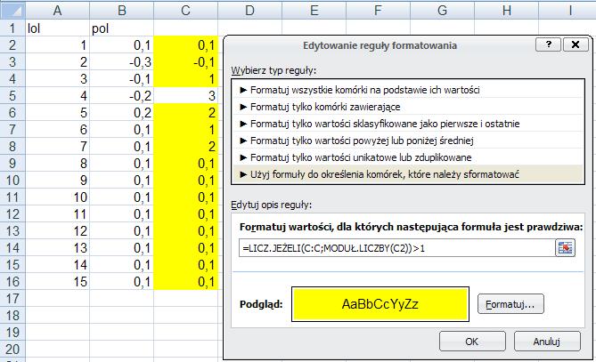 Excel 2010 Wyszukiwanie Takich Samych Wartosci Dodatnich I Ujemnych