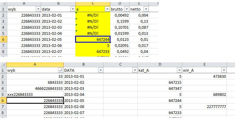 Excel - wyszukiwanie w tablicy cz�ci tekstu przy zadaniu 2 warunk�w
