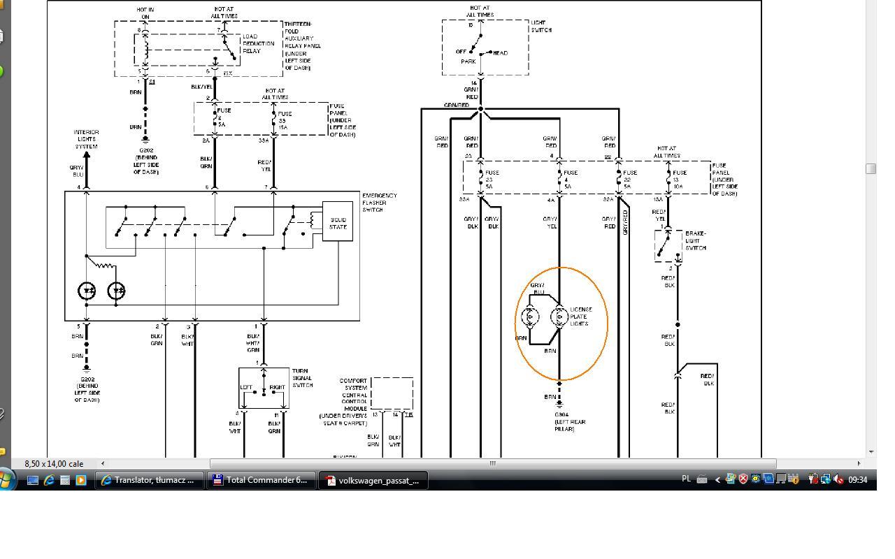 Vw Passat B5 Oświetlenie Tablicy Rejestracyjnej Elektrodapl