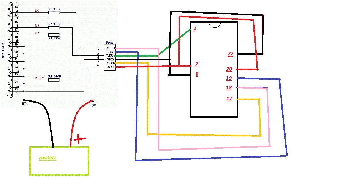 Usbasp i Atmega8A-PU sprawdzenie schematu