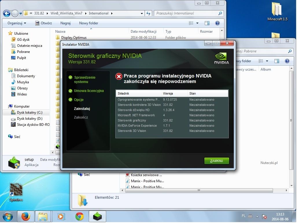 Sterowniki karty graficznej nVidia nie chc� si� zainstalowa�