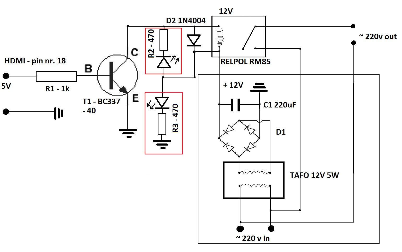 Klucz tranzystorowy hdmi 5V dla przeka�nika 12V
