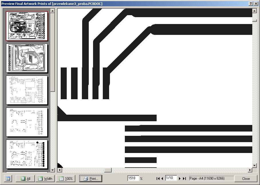 protel dxp przesunięte ścieżki w widoku wydruku i na wydruku