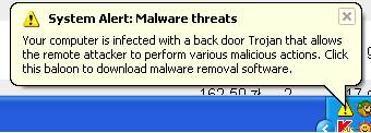 Windows - informacja System Alert: Malware threats