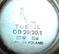 Glosniki Tonsil GD 20/20 - zawieszenie.