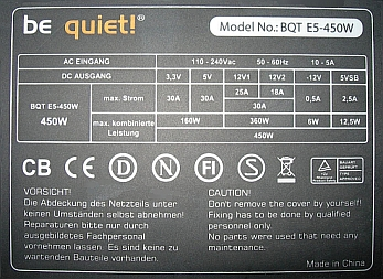 Be Quiet model: BQT E5-450W Straight Power - naprawa.