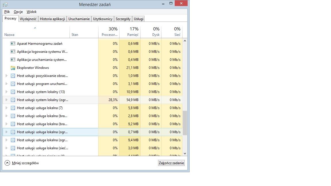 WIN 8.1 64b - svchost.exe Host us�ugi: system lokalny �re 30% mocy procesora