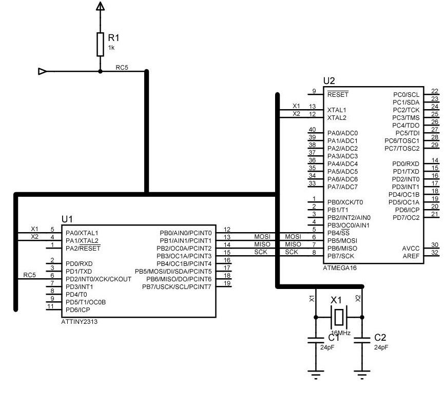 ATTiny2313 i ATMega16a - po��czenie SPI