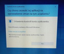 Kontrola konta użytkownika - brak możliwości zatwierdzenia WIN10 p