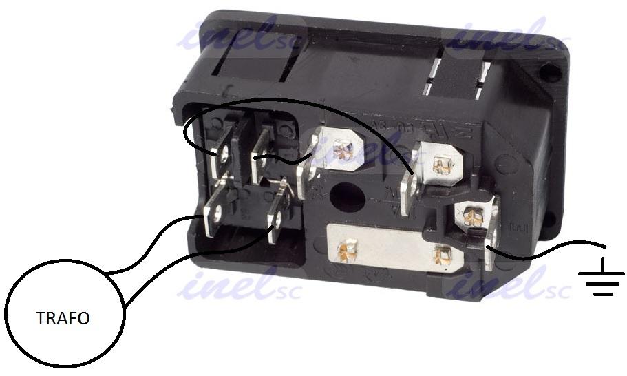 Gniazdo m�skie IEC zasilaj�ce komputerowe z bezpiecznikiem + wy��cznik