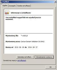 Microsoft Outlook 2010 wyswietla komunikat o certyfikacie