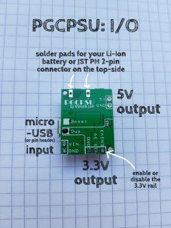 PGCPSU - miniaturowy zasilacz akumulatorowy 3.3V i 5V z 18650 (Kickstarter)