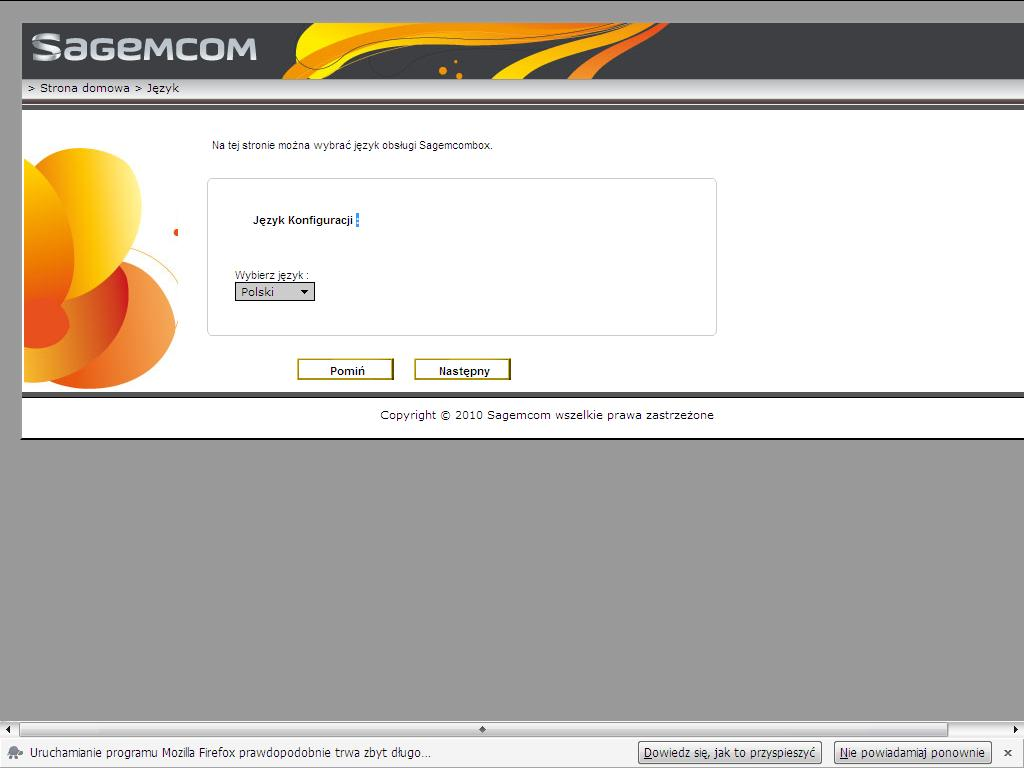 Modem Sagemcom Fast 3764 komfiguracja na ��czu FTTH