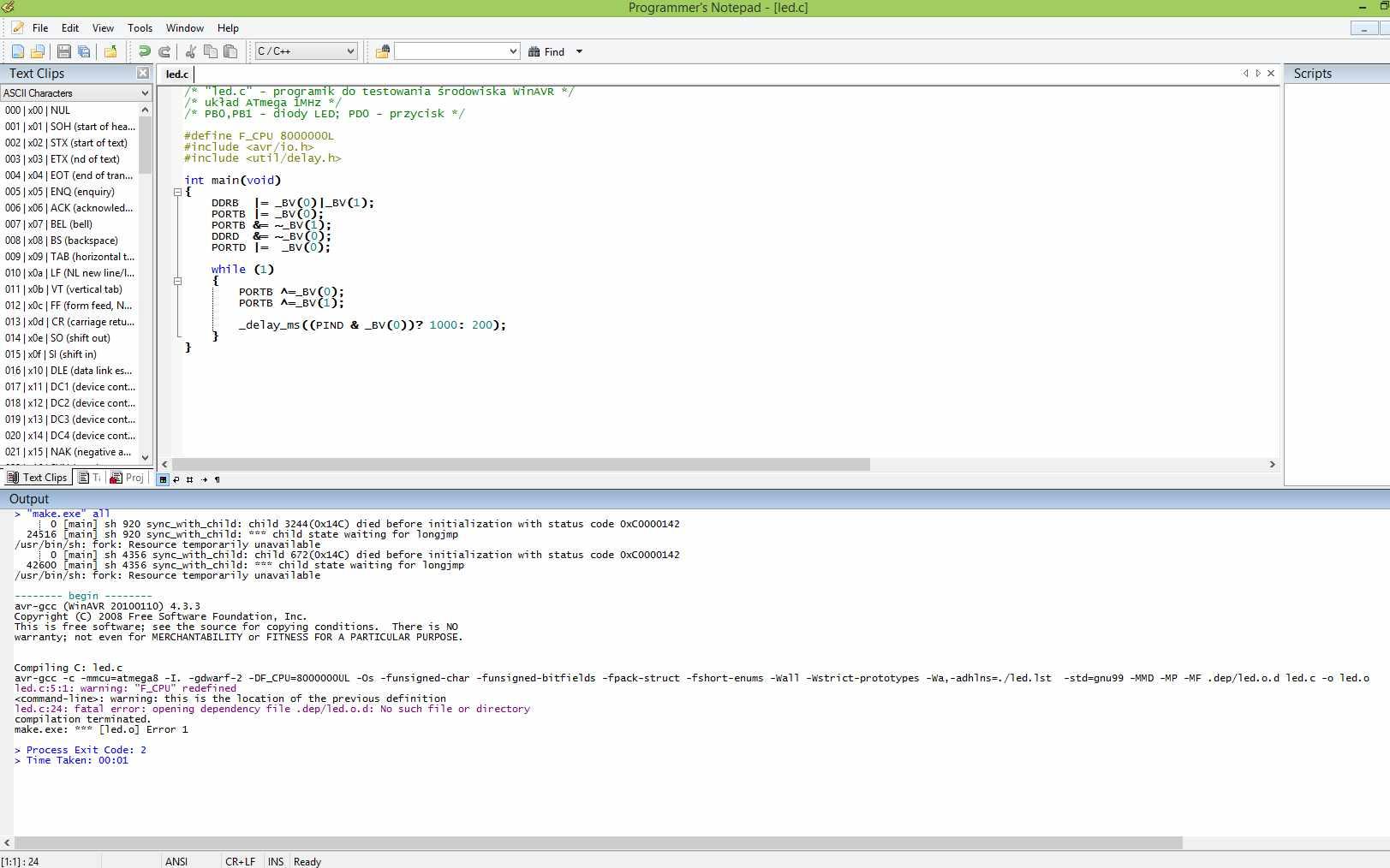 WINAVR - Nie kompiluje programu
