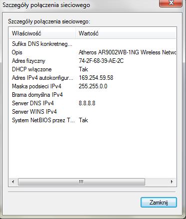 Połączenie z WiFi, brak internetu