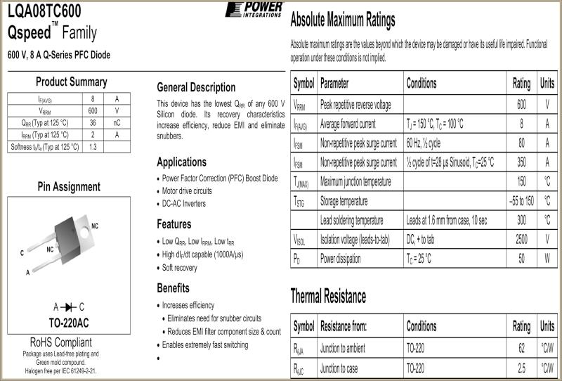 Corsair model: TX750W - jaka dioda LQA08TC600?