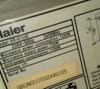 Mikrofala Haier model HR-67550 - grzeje przez około 3 min i sama się wyłącza
