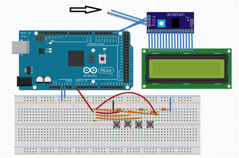 lcd + 4 przyciski podłączone do jednego pinu