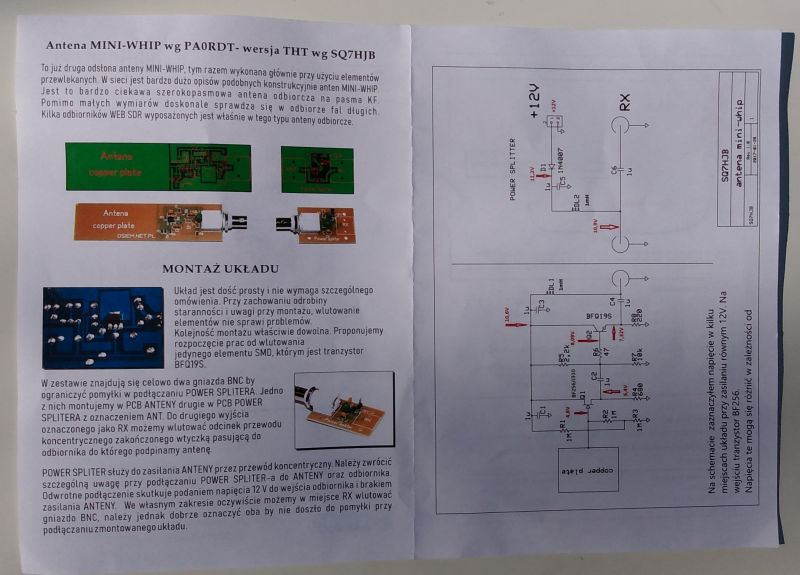 Aktywna antena Mini Whip w/g PA0RDT kit