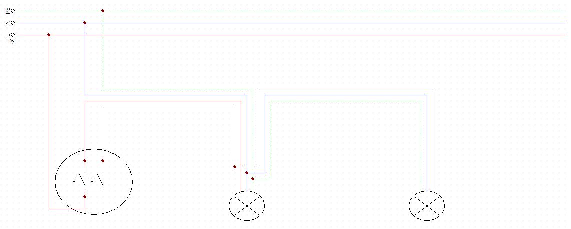 Dwie Lampy Jeden Włącznik Podwójny Kabel 4 żyłowy 3 żyłowy